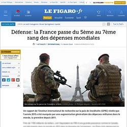 Défense: la France passe du 5ème au 7ème rang des dépenses mondiales