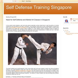 Self Defense Training Singapore: Need for Self Defense and Martial Art Classes in Singapore