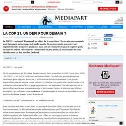 LA COP 21, UN DEFI POUR DEMAIN ?