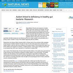 Autism linked to deficiency in healthy gut bacteria: Research