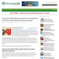 Coenzyme Q10 deficiency linked to chronic inflammation and disease