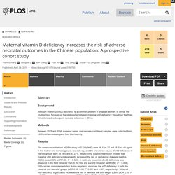 PLOS 24/04/18 Maternal vitamin D deficiency increases the risk of adverse neonatal outcomes in the Chinese population: A prospective cohort study