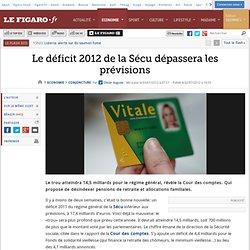 Conjoncture : Le déficit 2012 de la Sécu dépassera les prévisions