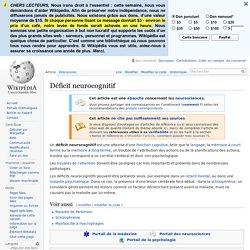 Déficit neurocognitif