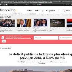 Le déficit public de la France plus élevé que prévu en 2016, à 3,4% du PIB