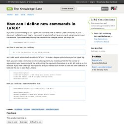 How can I define new commands in LaTeX? - IS&T Contributions - Hermes