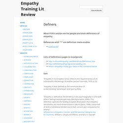 Definers - Empathy Training Lit Review