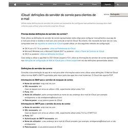 definições do servidor do correio para clientes de e-mail