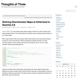Defining Discriminator Maps at Child-level in Doctrine 2.0 | Thoughts of Three