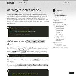 Defining Reusable Actions — Behat 3.0.12 documentation