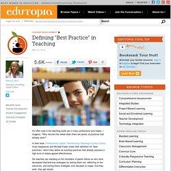 """Defining """"Best Practice"""" in Teaching"""