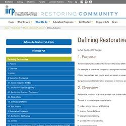 Defining Restorative - IIRP Graduate School