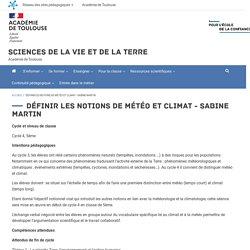 Définir les notions de météo et climat - Sabine Martin