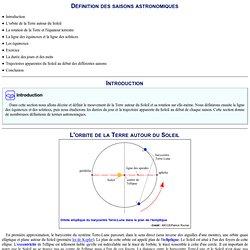 Définition des saisons astronomiques : Page pour l'impression