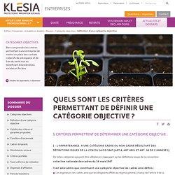 Définition d'une catégorie objective - Klesia