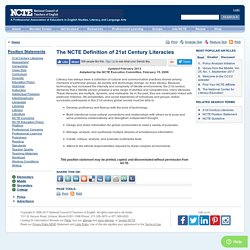 The NCTE Definition of 21st Century Literacies