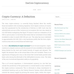 Crypto-Currency: A Definition