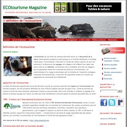 Définition de l'écotourisme