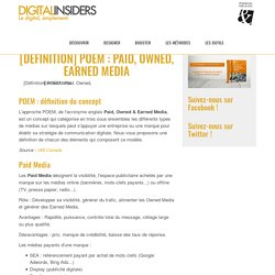 [Définition] POEM : Paid, Owned, Earned Media
