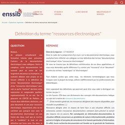 """Définition du terme """"ressources électroniques"""""""