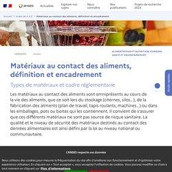Matériaux au contact des aliments, définition et encadrement