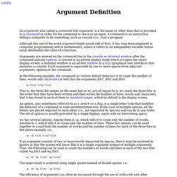 Argument definition by The Linux Information Project