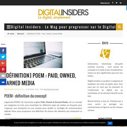 [Définition] POEM : Paid, Owned, Earned Media - Digital Insiders - Le Mag pour progresser sur le Digital