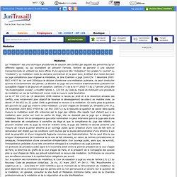 Médiation : définition du lexique juridique de Juritravail