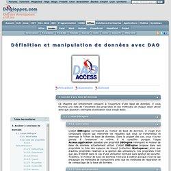 Définition et manipulation de données avec DAO