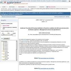 Arrêté du 15 octobre 2018 portant définition et fixant les conditions de délivrance du brevet de technicien supérieur « Management commercial opérationnel »