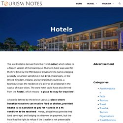 Hotels - Definition, History, Types, and Organisation Structure or Core Areas