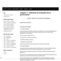 chapitre 3 : définition et évaluation de la performance