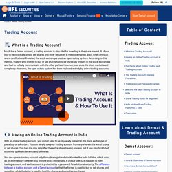 Trading Account: Trading Account Meaning, Definition, Opening Procedures - India Infoline
