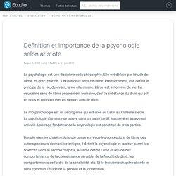 Définition et importance de la psychologie selon aristote - Comptes Rendus - 1008 Mots