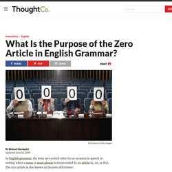 The Definition and Purpose of the Zero Article
