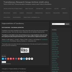 Transliteracy Research Group Archive 2006-2013