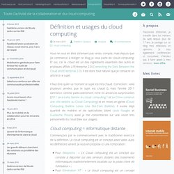 Définition et usages du cloud computing