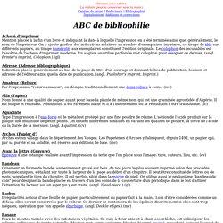 ABC de bibliophilie