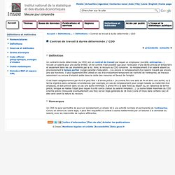 Définitions et méthodes - Contrat de travail à durée déterminée / CDD