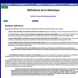 Définitions de la didactique