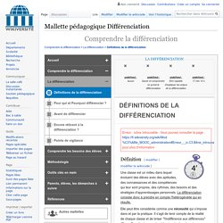 Definitions de la differenciation