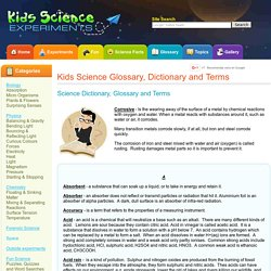 Kids Science word Dictionary Definitions and Explanations