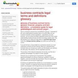 businesses contracts terms definitions glossary - dictionary of contracts legal terms, jargon, expressions, latin contract terms