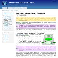 Définitions du système d'information