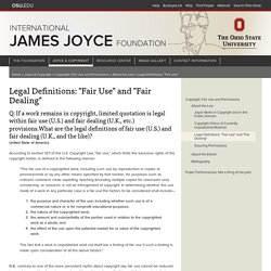 "Legal Definitions: ""Fair Use"" and ""Fair Dealing"""