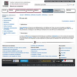 Définitions et méthodes - Code APE