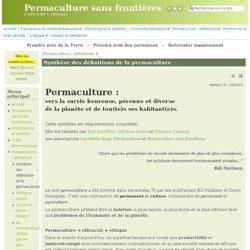 Synthèse des définitions de la permaculture