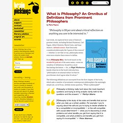 What is Philosophy? An Omnibus of Definitions from Prominent Philosophers