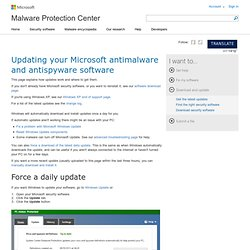 Install the latest Microsoft Security Essentials definition updates - Get the latest definitions - Microsoft Malware Protection Center