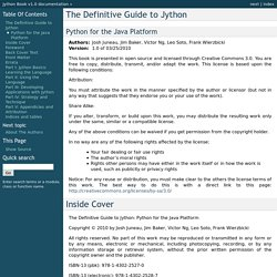 The Definitive Guide to Jython — Jython Book v1.0 documentation